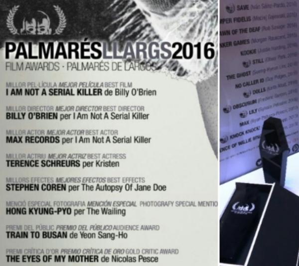 Palmarés largometrajes 2016 - Festival TerrorMolins