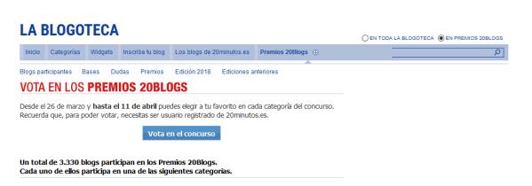 Premios 20Blogs XII - Categorías