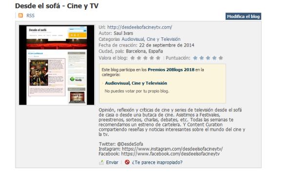 Premios 20Blogs - Ficha Desde el sofá - Cine y TV