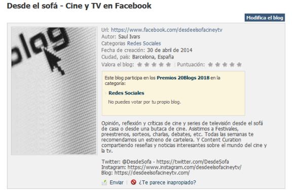 Premios 20Blogs XII - Ficha Desde el sofá - Cine y TV en Redes Sociales